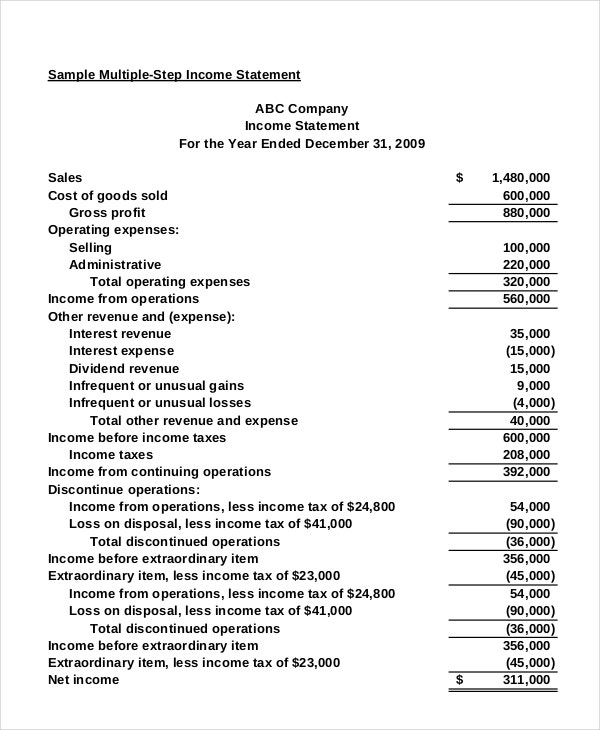 Income statement free pdf excel word documents for 3 year income statement template