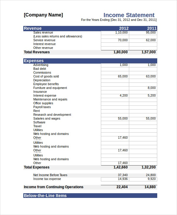 Income Statement 18 Free Pdf Excel Word Documents