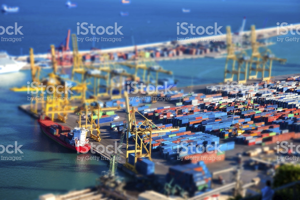 Tilt Shift Photography of Barcelona Harbor