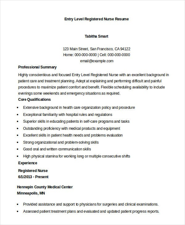 Entry Level Registered Nurse Resume  Experienced Registered Nurse Resume