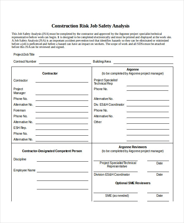 Job Safety Analysis Template  Job Site Analysis Template