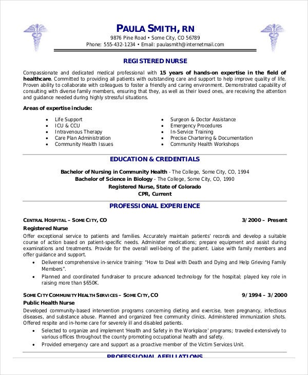 Registered Nurse Resume Example - 6 Free Word, Pdf Documents