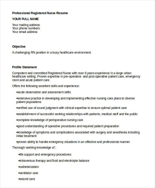 registered nurse resume example 6 free word pdf
