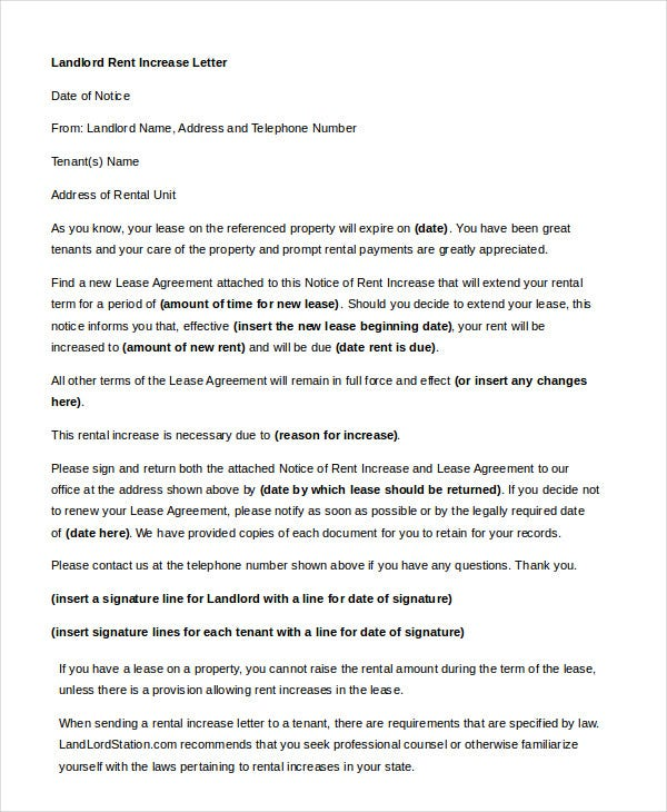 Sample rent increase letter 5 free sample example format landlord rent increase letter in word spiritdancerdesigns
