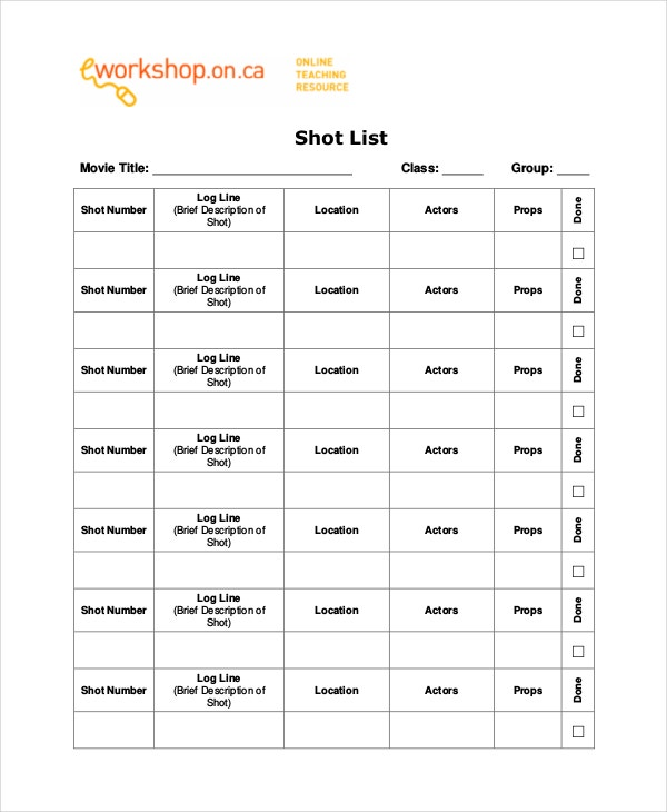 Simple Film Shot List Template