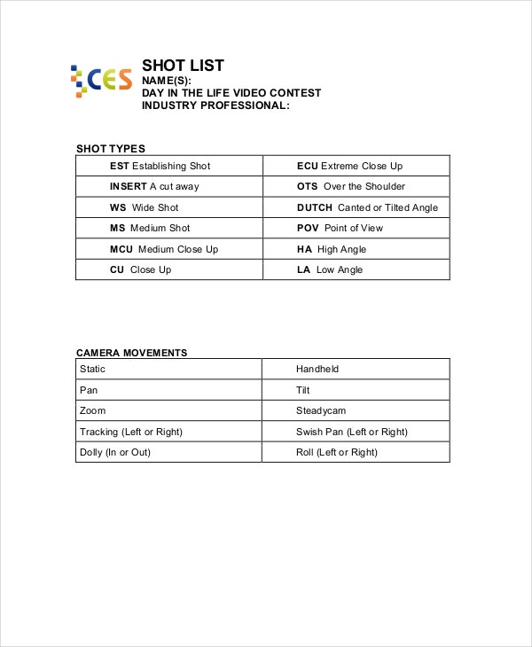 Shot List Template - 10+ Free Word, Pdf, Psd Documents Download