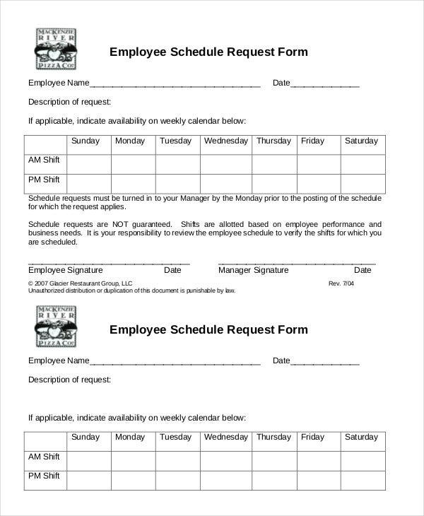 restaurant employee schedule template