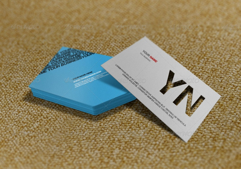 Realistic Die Cut Business Card Mockup