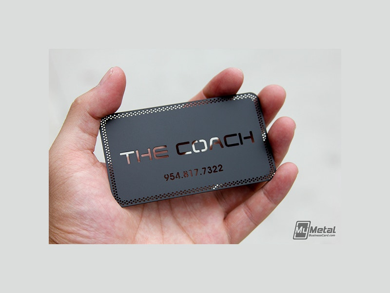 Free Coach Black Metal Business Card