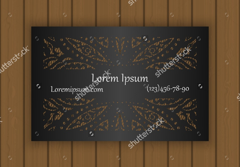 business card template with a cut out pattern