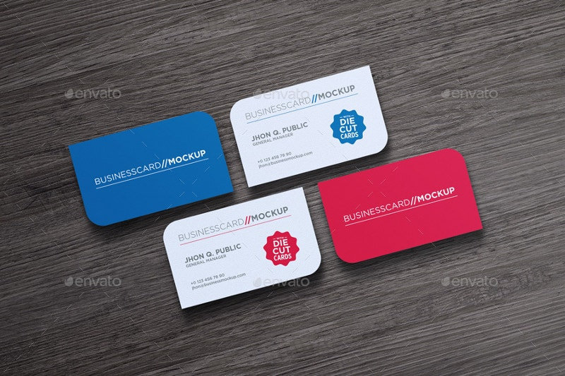 Advanced Die Cut Business Card Mock-Up