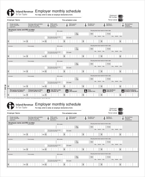 download employee monthly schedule