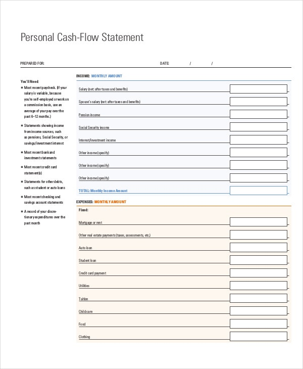 personal-cash-flow-statement-template