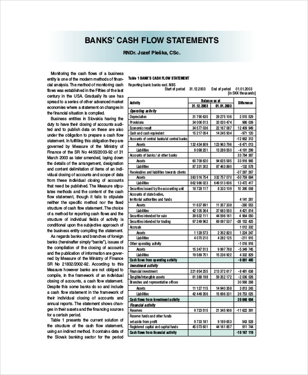 Bank Cash Flow Statement Template