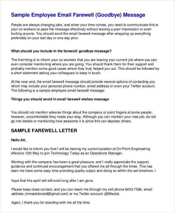 Farewell Letter - 7+ Free Sample, Example, Format | Free & Premium