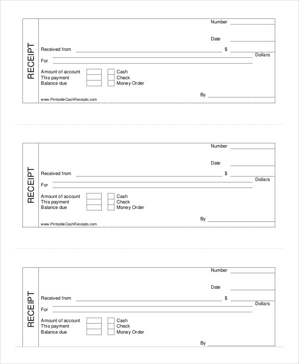 Cash Receipt Template 8 Free Word PDF Documents Download – Blank Receipt to Print