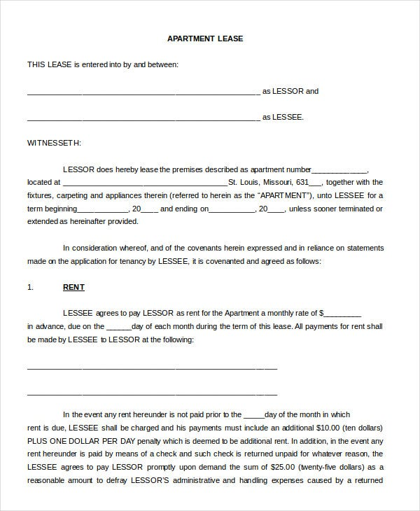 Free Rental Agreement Form Apartment Lease Blank Agreement Form