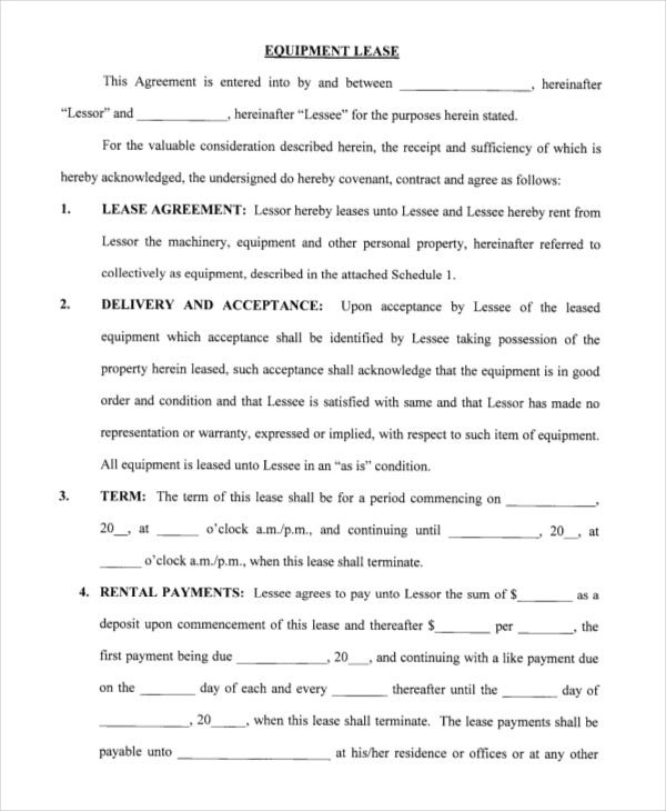 Printable Blank Lease Agreement Form   Free Word Pdf Documents