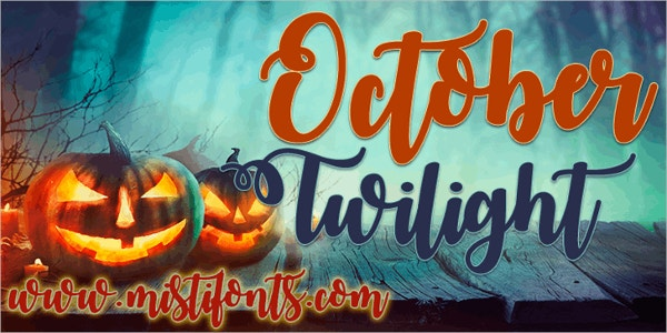 october twilight calligraphy font