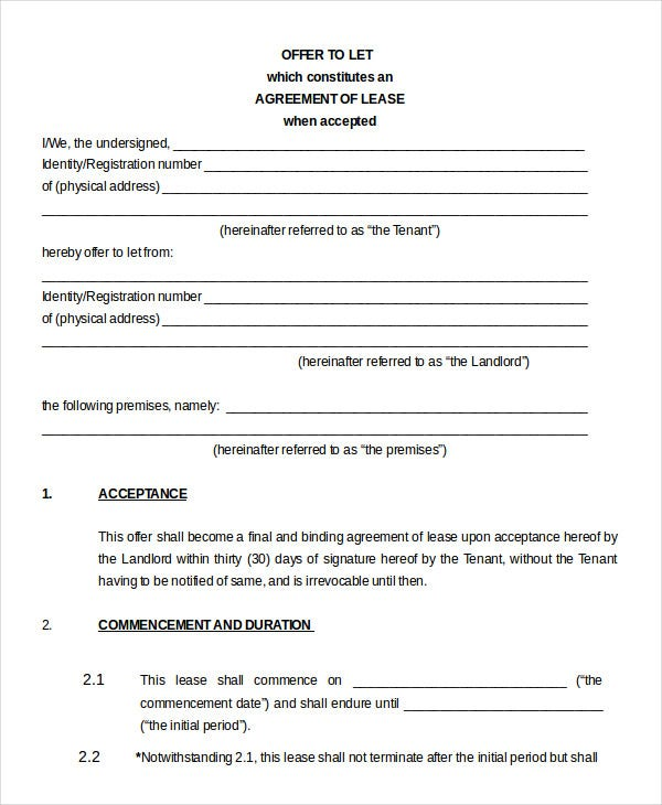 Printable Blank Lease Agreement Form 9 Free Word PDF Documents – Free Printable Rental Lease Agreement