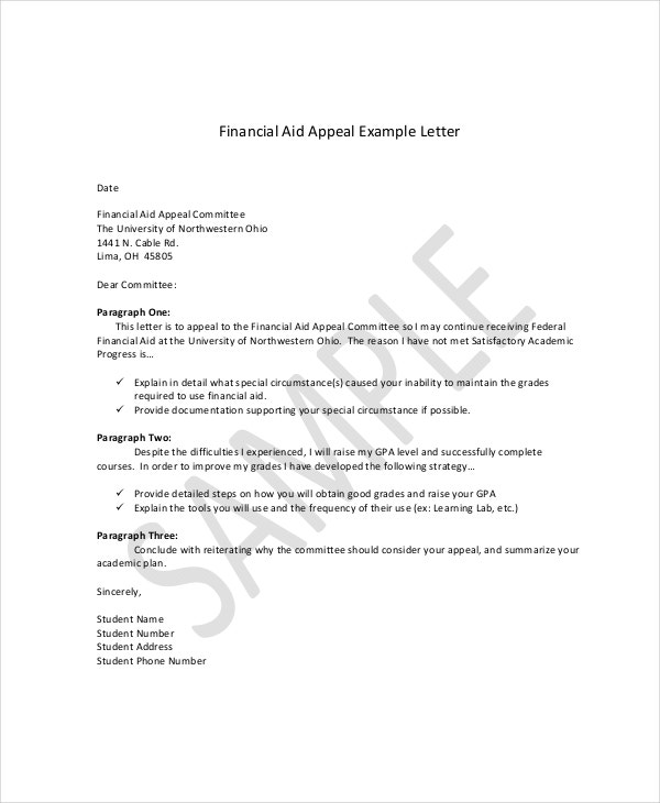 financial aid appeal letter in doc - Medical Appeal Letters
