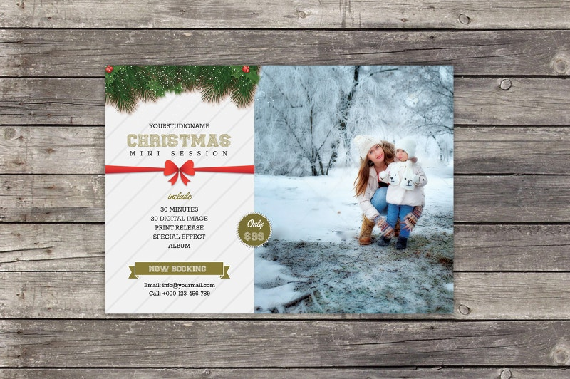 Print Design Christmas Mini Session Template