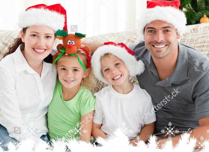 Portrait of Happy Family with Christmas Hats