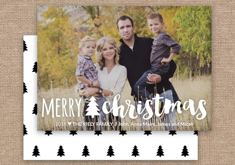 modern christmas photo card