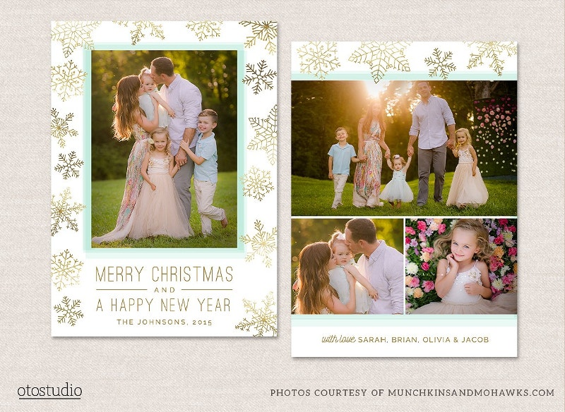 gold foil christmas photo card template