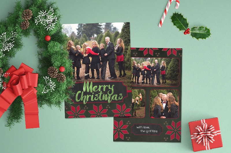 festive pine christmas photo card