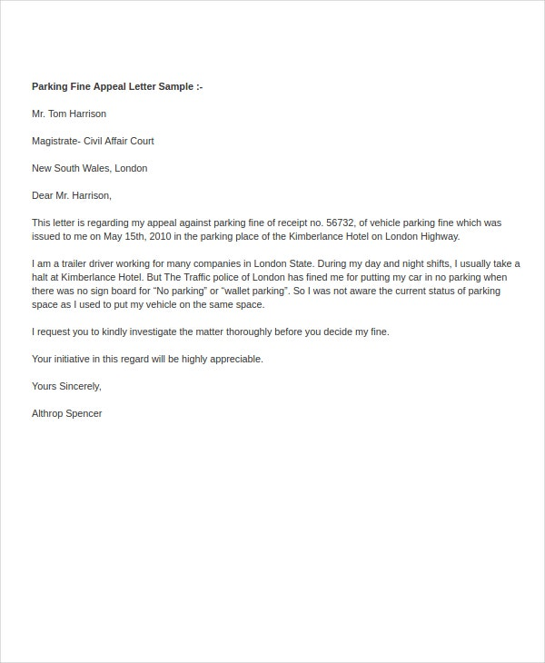Parking Fine Appeal Letter Template