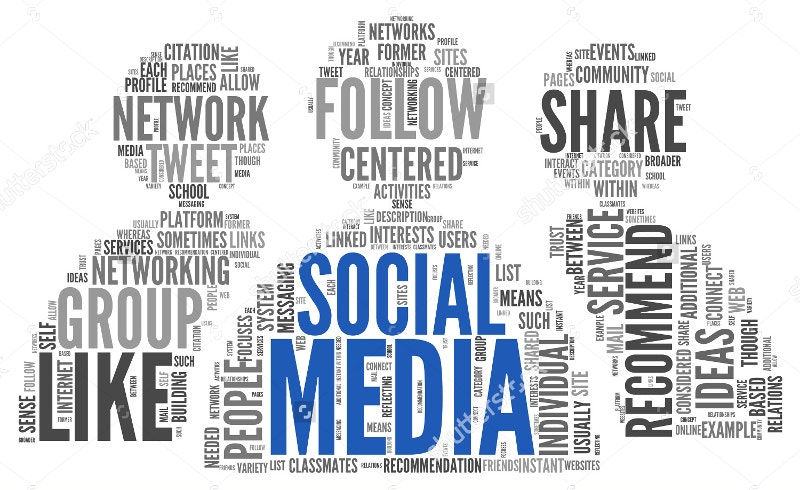 social media concept word art design
