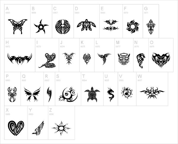 tribal tattoo font1