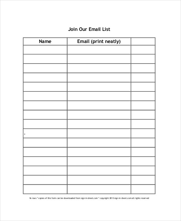 Great Email Sign Up Sheet Template And Free Sign Up Sheet Template