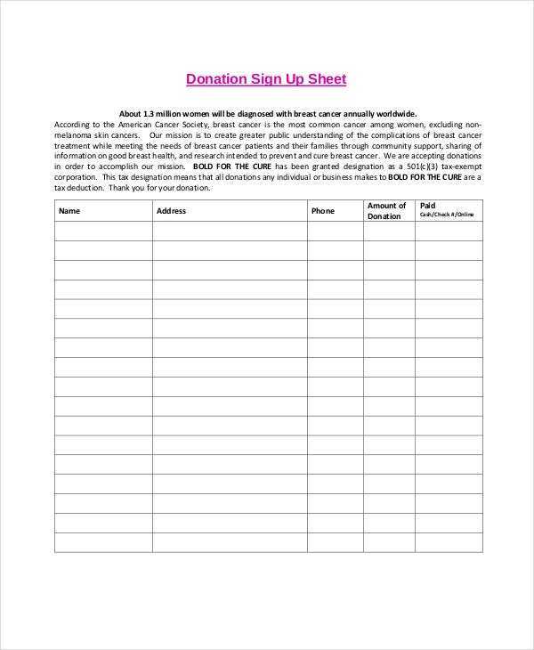 Donation Sign Up Sheet Template Photo Gallery