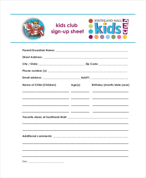 kids Club Sign Up Sheet
