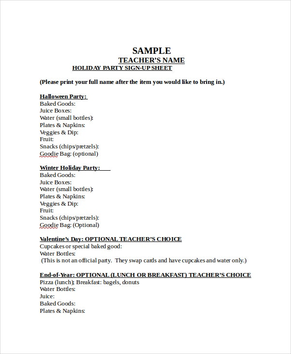 Sample Holiday Party Sign Up Sheet