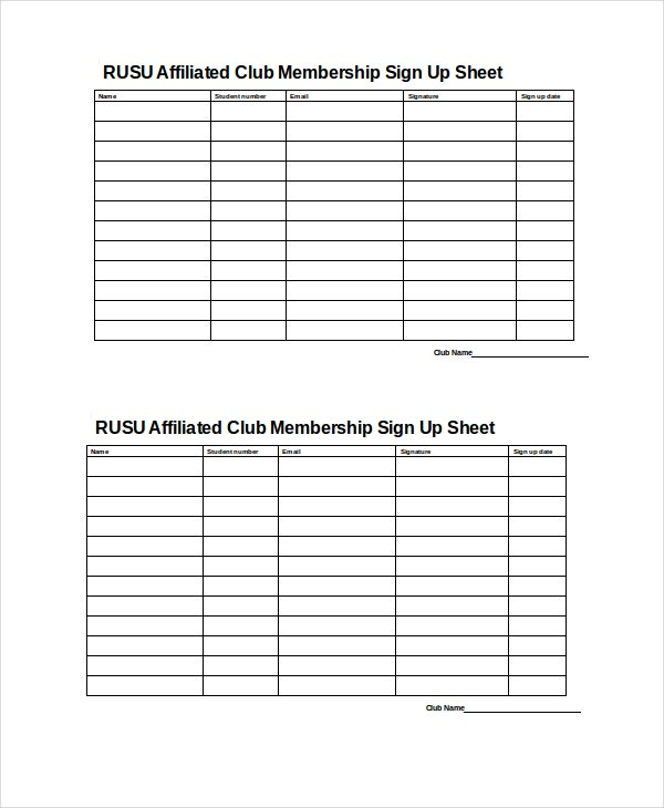 Club Membership Sign Up Sheet