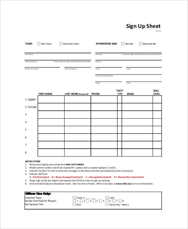 Sign Up Sheet 9 Free PDF Word Documents Download – Team Sign Up Sheet Template