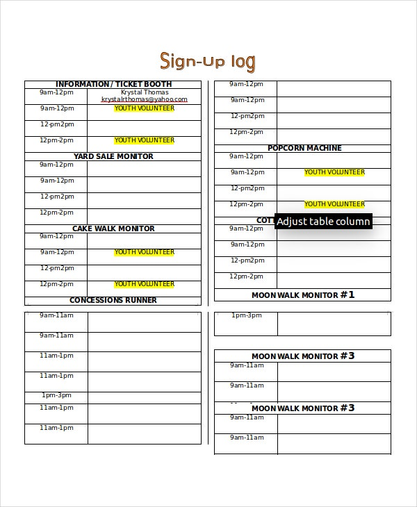 Fall Festival Sign Up Sheet