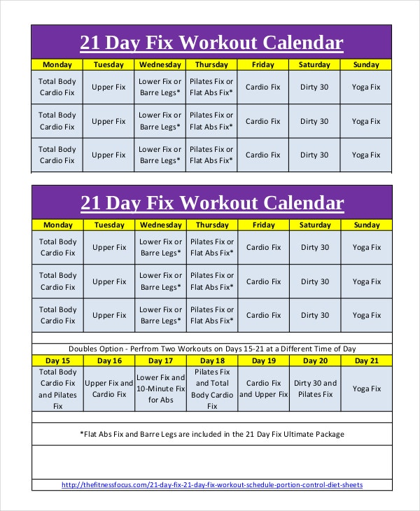 Daily Workout Calendar Template