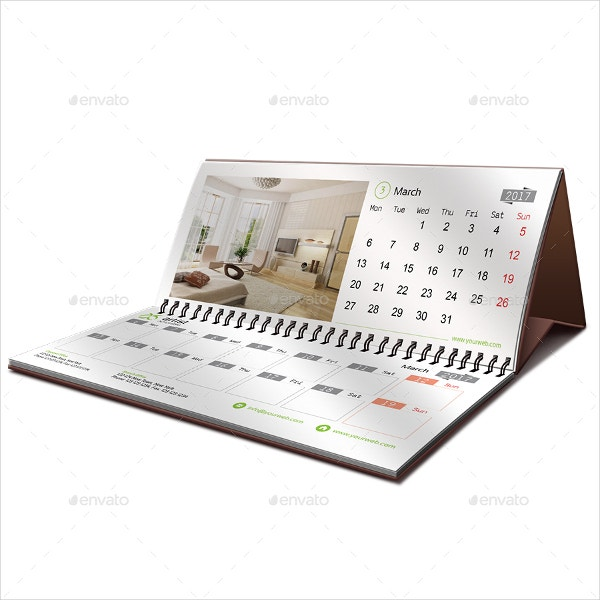 daily desk calendar template
