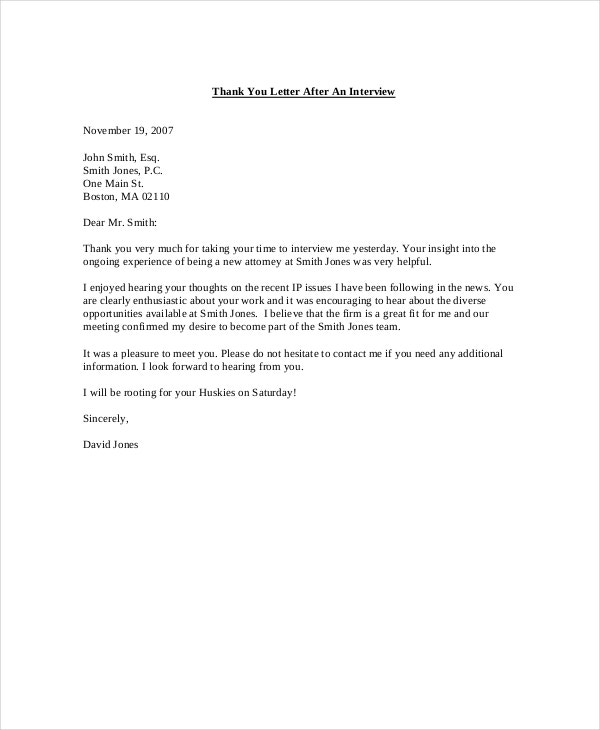 job interview thank you notes