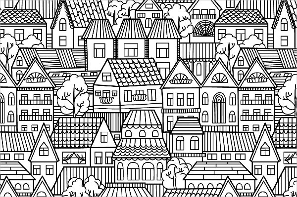 Black and White Houses pattern