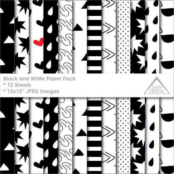 Digital Paper Black and White Pattern