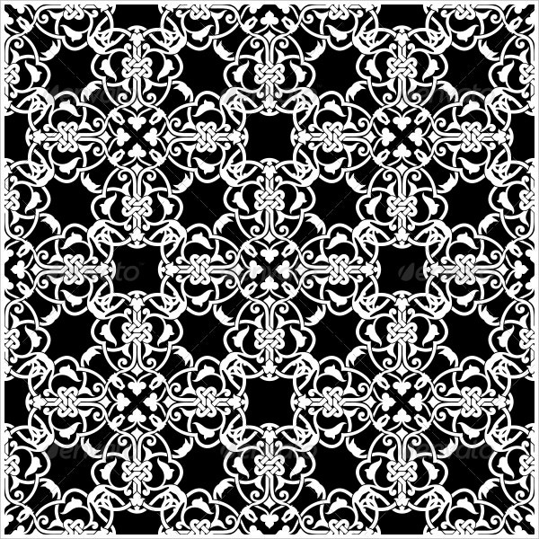 Editable Seamless Black and White Pattern