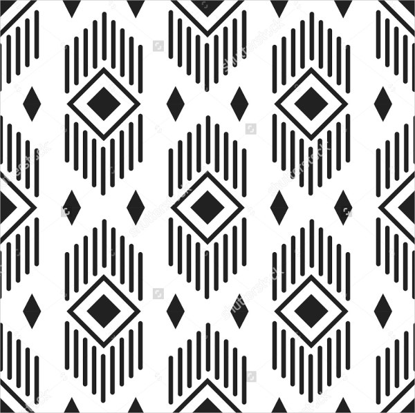 Ethnic Geometric Black and White Pattern