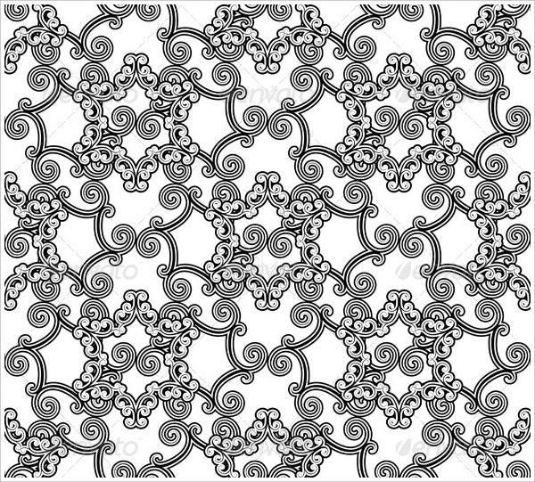 Floral White and Black Pattern