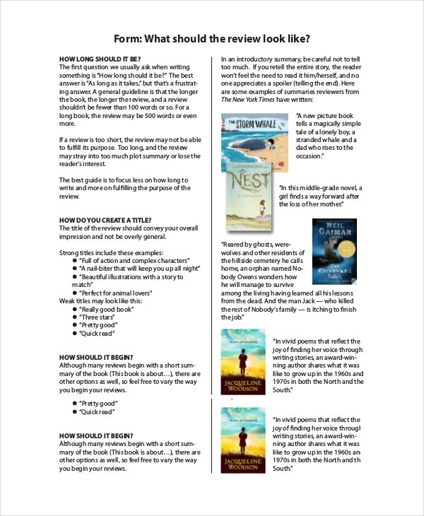 Book Review Template For Kids