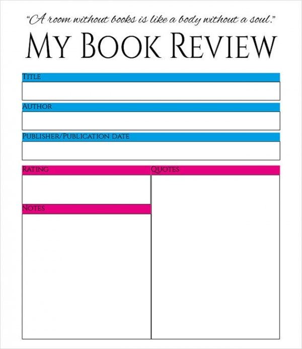 Printable Personal Book Review Template